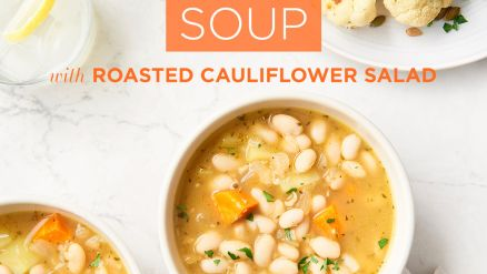 White Bean Soup with Roasted Cauliflower Salad