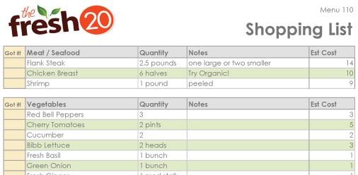 The Fresh 20 Shopping List