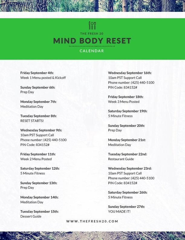 Mind Body Reset Calendar