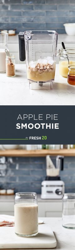 Easy healthy apple pie smoothie with a blender full of ingredients in a beautiful white marble modern kitchen