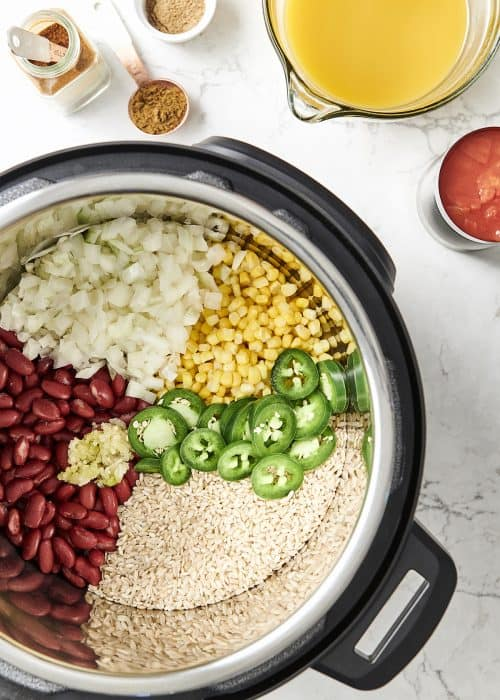 Overhead view of The Fresh 20 Vegetarian Spanish Instant Pot Crock-Pot recipe organized with colorful vegetables and jalapeño
