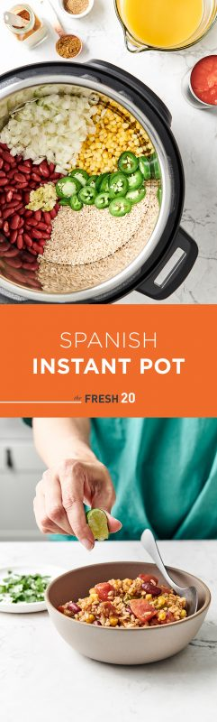Woman squeezing a lime wedge into a hearty bowl of The Fresh 20 Vegetarian Spanish Instant Pot Crock-Pot recipe