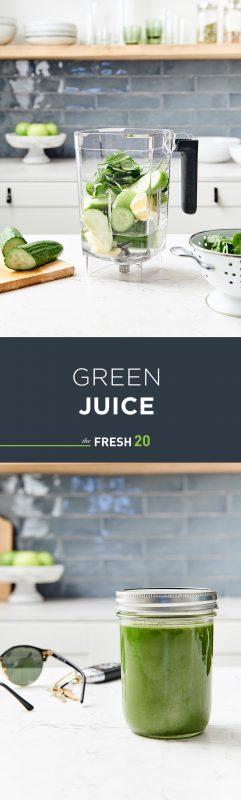 Blender full of fresh fruit & vegetables in a white marble kitchen & mason jar of cucumber apple ginger green juice with glasses & keys