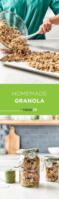 Mason jars full of homemade granola wrapped with a green twine with a thank you card along with a woman pouring granola onto a baking sheet pan