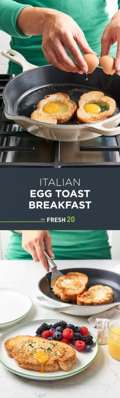 Woman cracking egg into skillet & serving easy Italian egg toasts with mixed berries in a white marble kitchen