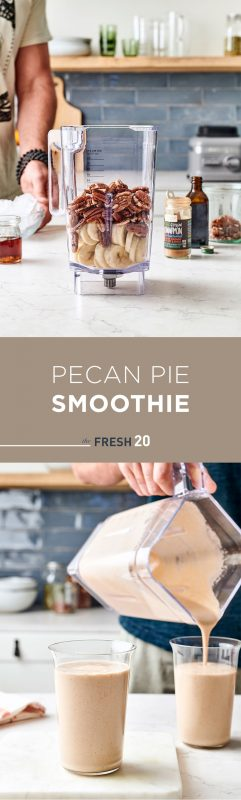 Blender full of bananas & pecans, & pouring pecan pie holiday smoothie into 2 glasses in a white marble kitchen