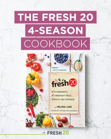 The Fresh 20 4-Season Cookbook on a Marble Surface