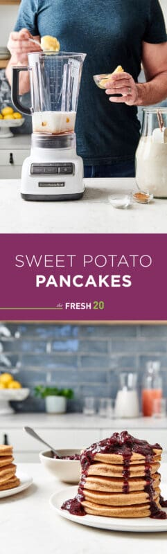 Man making sweet potato pancake batter & a tall stack of fluffy sweet potato pancakes drizzling in a thick blueberry compote